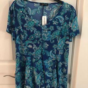 Dressbarn NWT top. Shades of blue. Sz L.